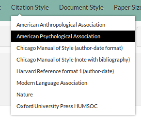 Citation styles can be selected directly in the editor. These are the eight styles already installed when setting up a new Fidus Writer installation.