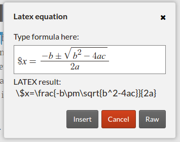 Thanks to Aleksandr Korovin of the OSCOSS project, Fidus Writer now has this graphic equation editor.